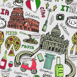 Italy landmark doodle seamless pattern.Rome.Colored